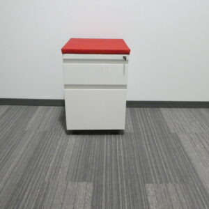 Haworth Mobile Pedestal with red cushion